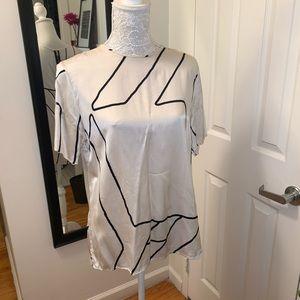 Rag and Bone White Short Sleeve 100% Silk Blouse